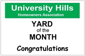 Congratulations your home is Yard of the Month